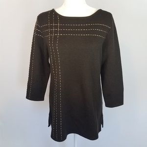 Dana Buchman Wool Brown Knit Sweater Sz Large